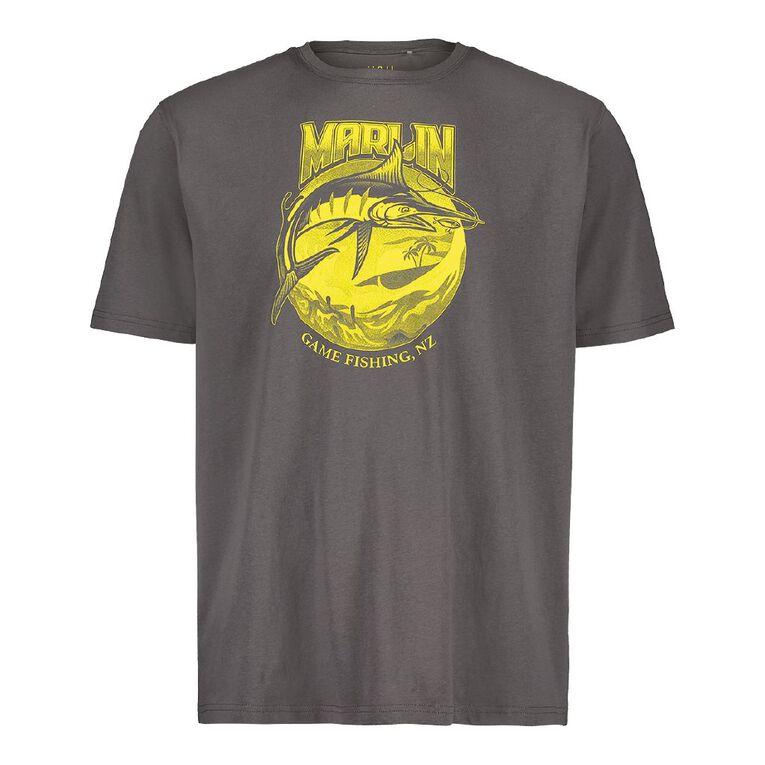H&H Crew Neck Short Sleeve Printed Tee, Grey Dark, hi-res