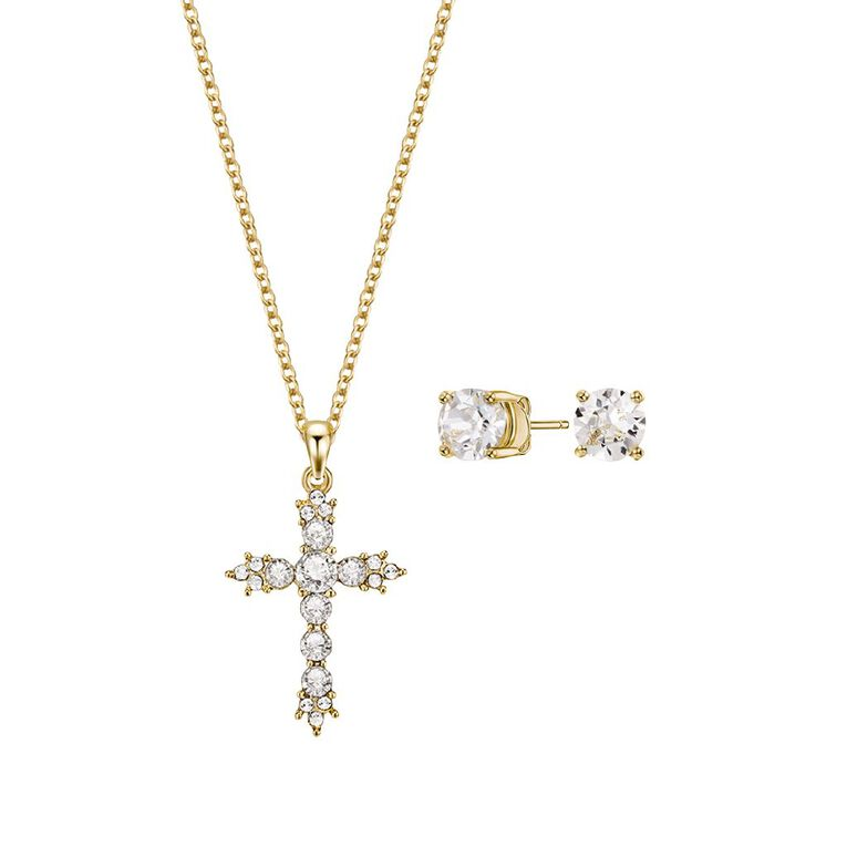 Mestige Gold Plated Swarovski Crystal Cross Necklace & Earrings Set, , hi-res