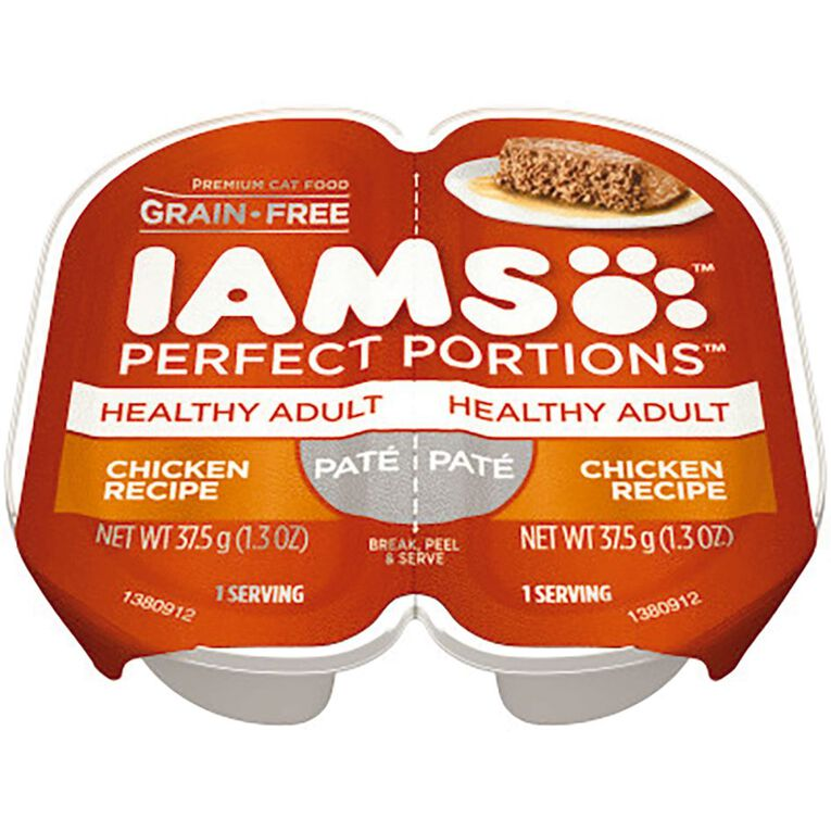 Iams Perfect Portions Wet Cat Food Healthy Adult Chicken Pate 2 x 37.5g, , hi-res