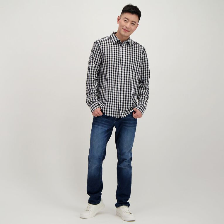 H&H Men's Long Sleeve Classic Check Shirt, Black/White, hi-res