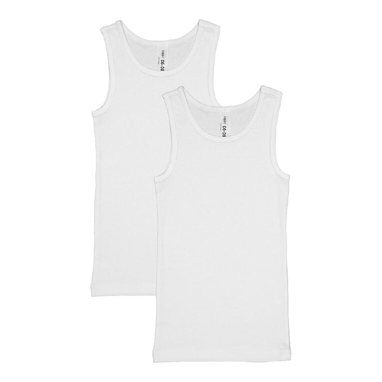 H&H Girls' Essential Singlets 2 Pack, White, hi-res