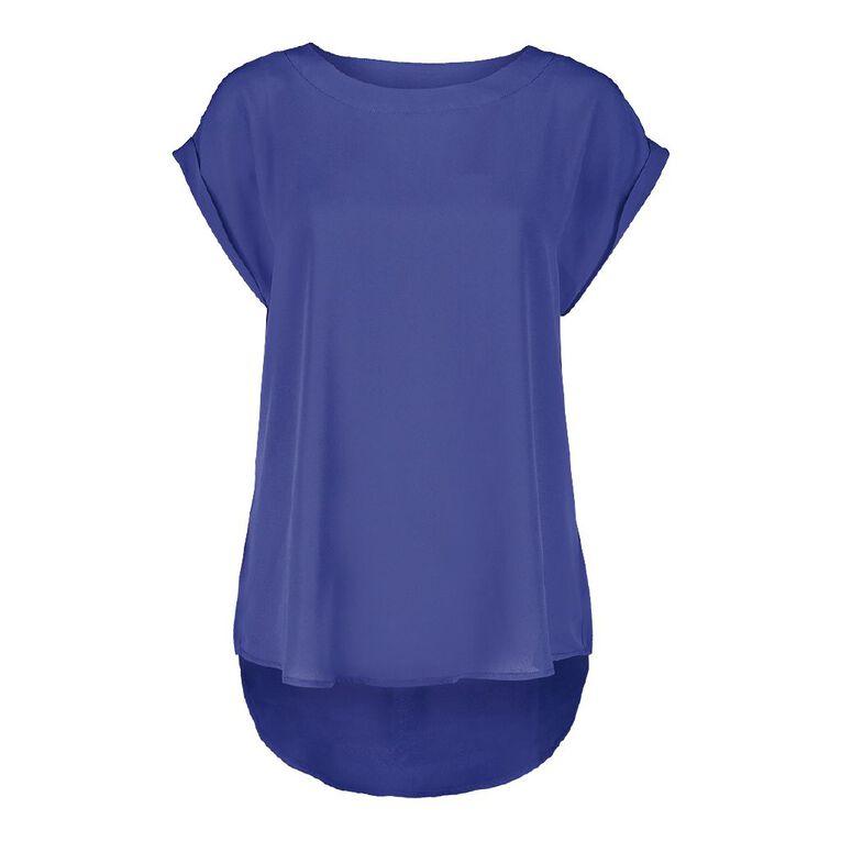 H&H Women's Roll Cuff Shell Top, Blue Dark, hi-res
