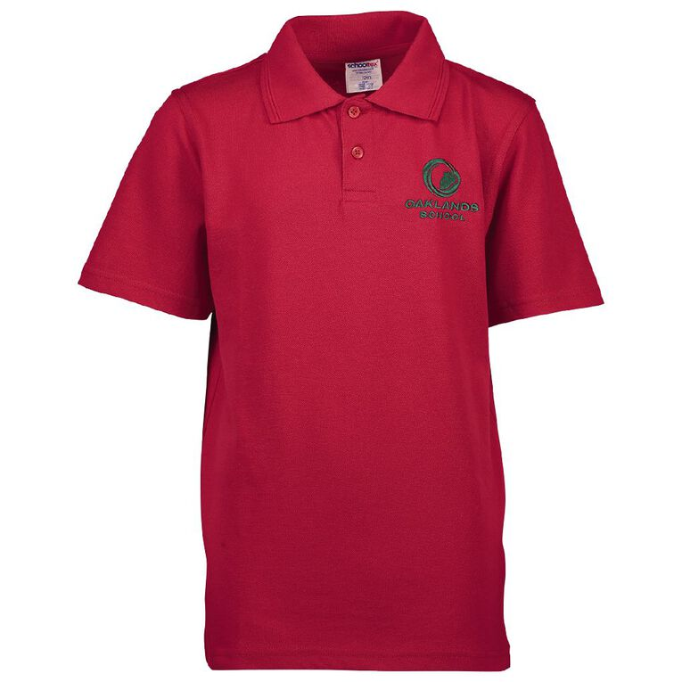 Schooltex Oaklands School Short Sleeve Polo with Embroidery, Red, hi-res