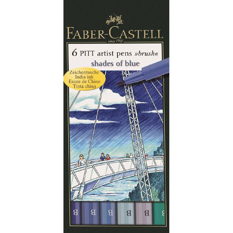 Faber-Castell Pitt Artist Brush Pens Blues 6 Pack, , hi-res