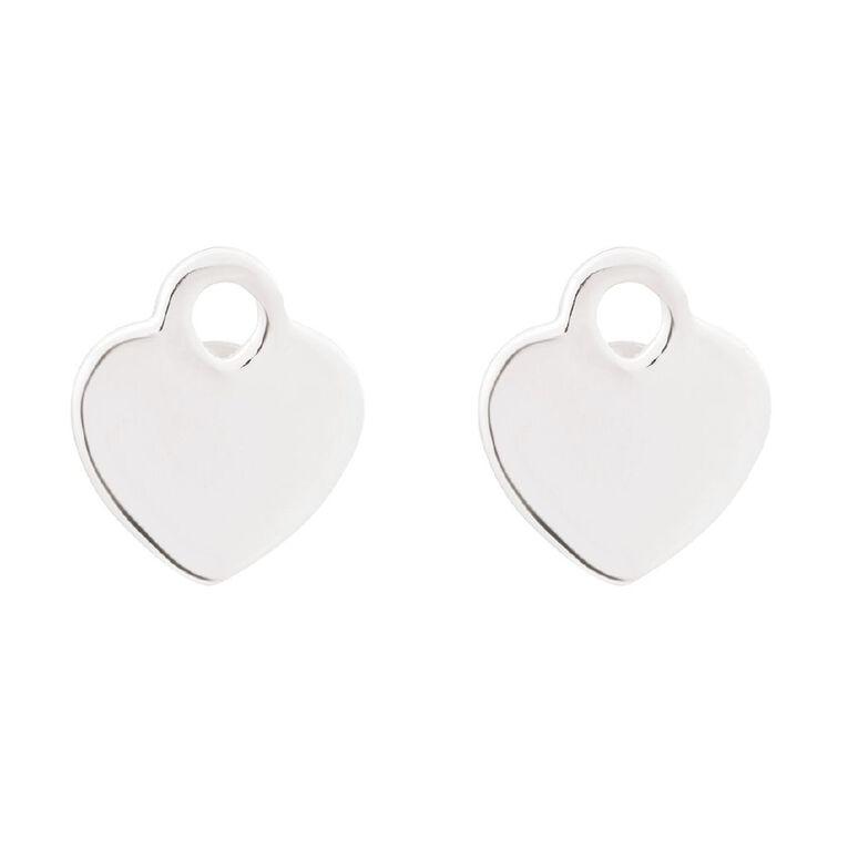 Sterling Silver Locket Heart Stud, , hi-res