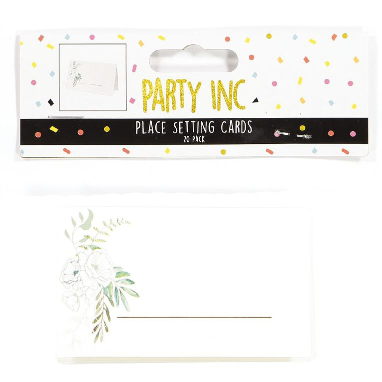 Party Inc Leaf Place Setting Cards 9cm x 5.5cm White 20 Pack, , hi-res