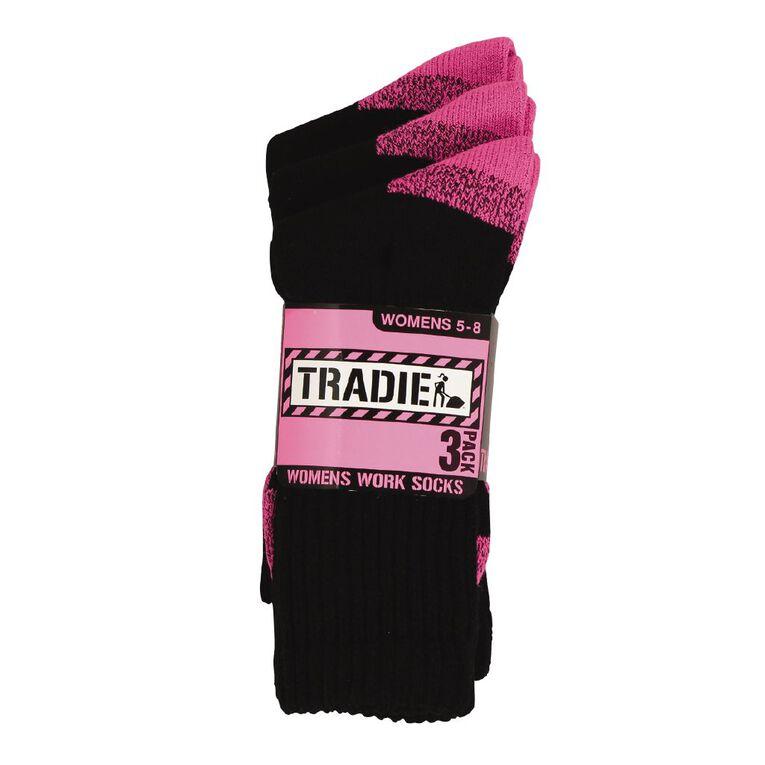 Tradie Women's Acrylic Work Socks 3 Pack, Pink, hi-res