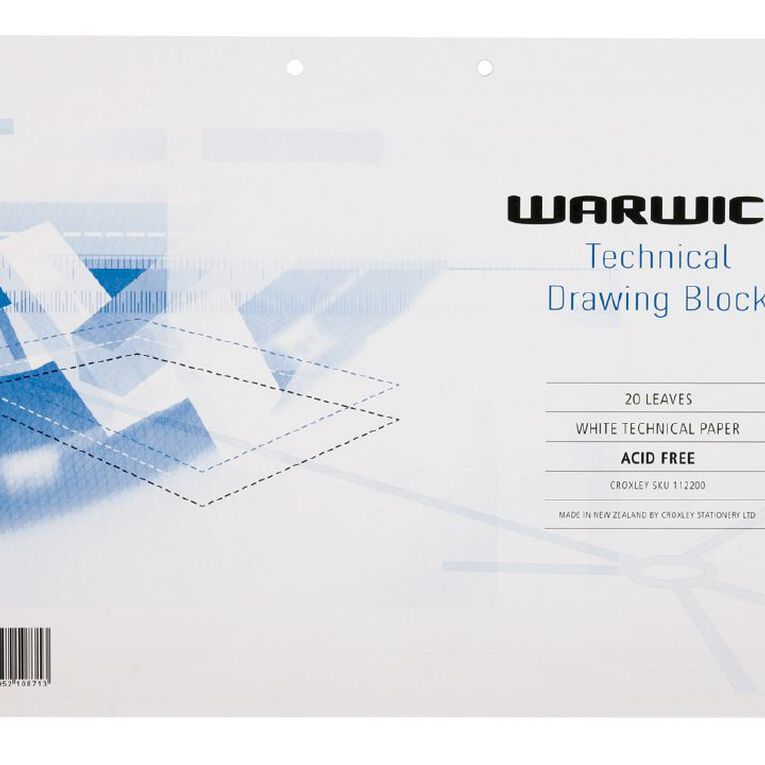 Warwick Tech Drawing Refill Printed White A3, , hi-res