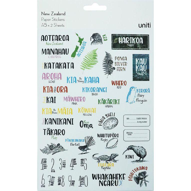Uniti New Zealand Sticker Sheets, , hi-res