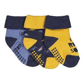 H&H Infant Boys' Bootie Terry Socks 3 Pack