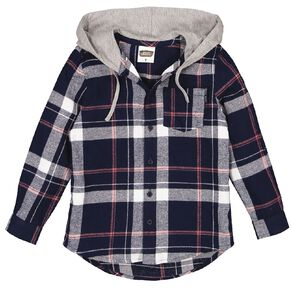 Young Original Long Sleeve Hooded Flannel Shirt
