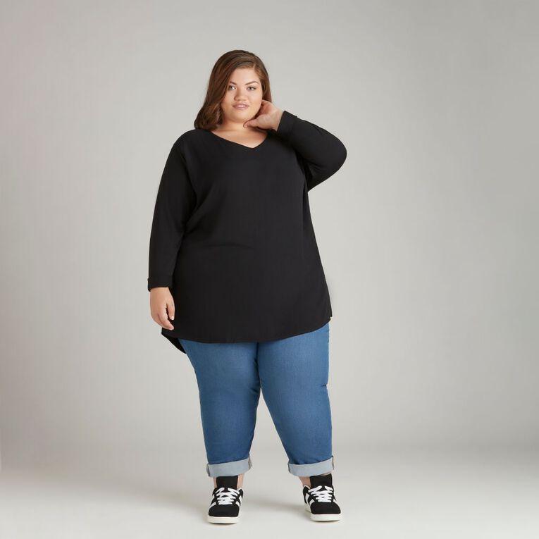 H&H Plus Women's Knit Back Tunic, Black, hi-res