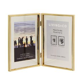 Living & Co Metal Double Photo Frame Gold 4in x 6in