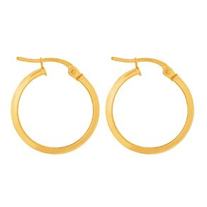 9ct Gold Knife Edge Hoop Earrings