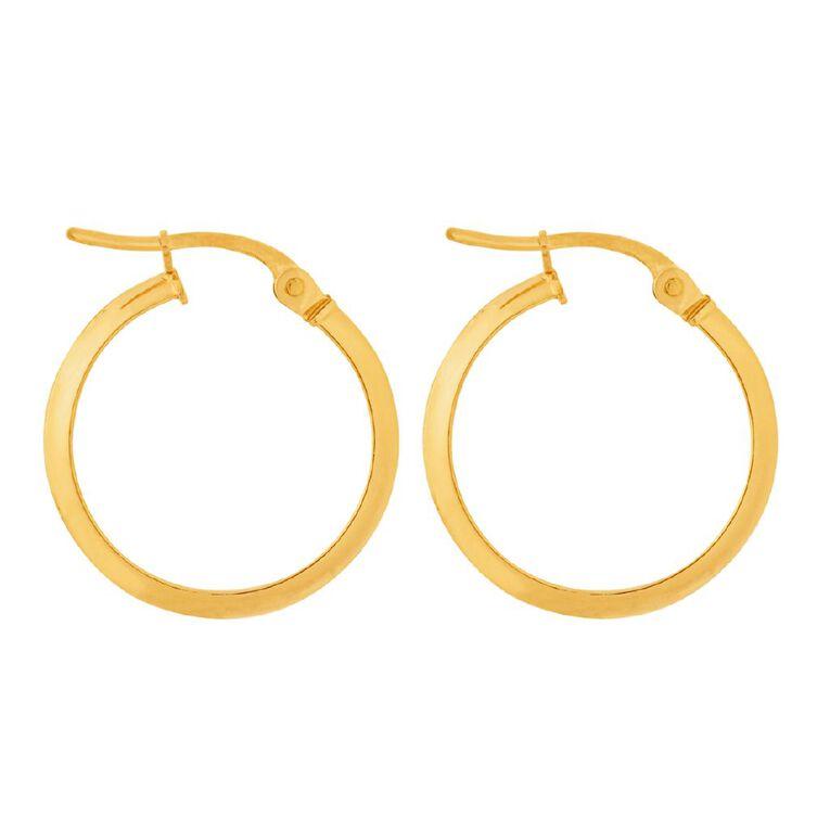 9ct Gold Knife Edge Hoop Earrings, , hi-res