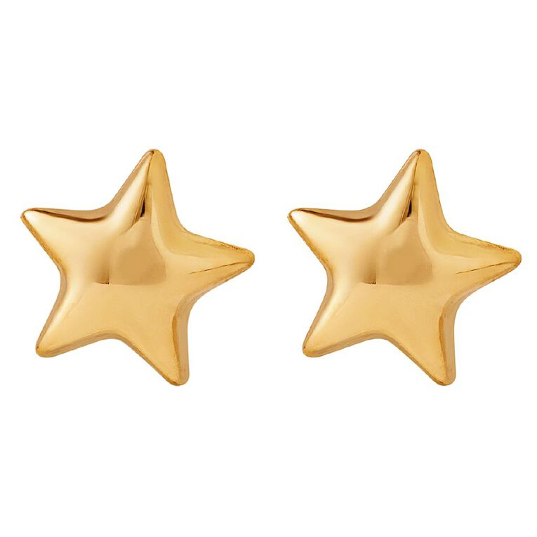 9ct Gold Star Stud Earrings, , hi-res