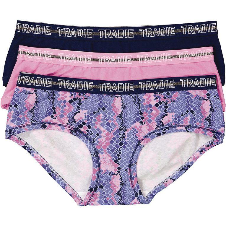 Tradie Women's Boyleg Briefs 3 Pack, Blue/Pink, hi-res image number null