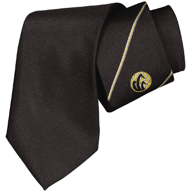 Schooltex Flaxmere Stripe Tie with Logo, Black, hi-res