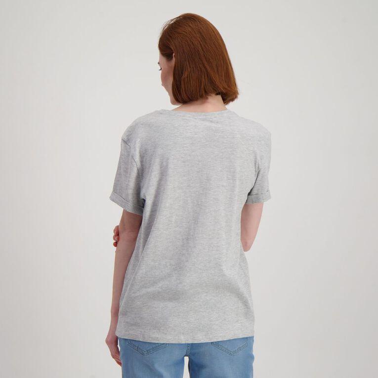 H&H Women's Printed Cuff Detail Tee, Grey Marle, hi-res
