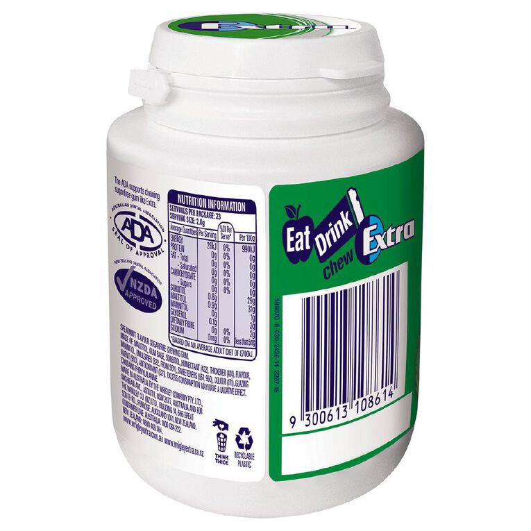 Extra White Peppermint Chewing Gum SF Bottle 46 Piece 64g White 64g, White, hi-res