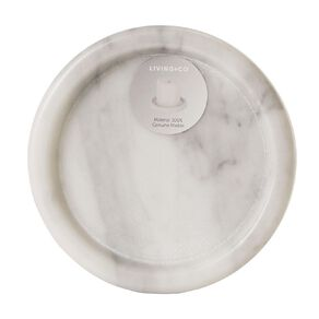 Living & Co Marble Pillar Candle Plate White