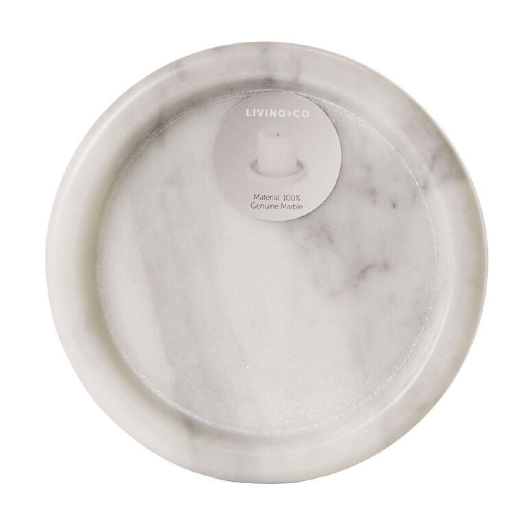 Living & Co Marble Pillar Candle Plate White, , hi-res