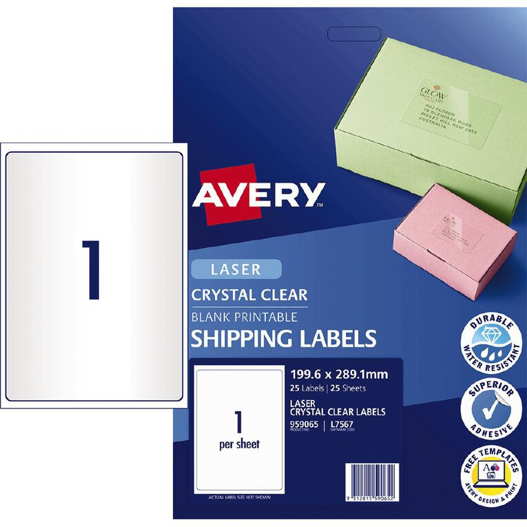 Crystal Clear Shipping Labels L7567 25 Pack, , hi-res