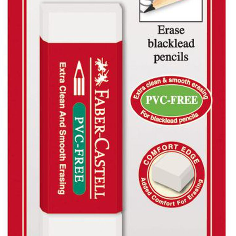 Faber-Castell Eraser PVC Free Medium 2 Pack White, , hi-res