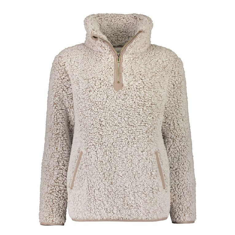 H&H Love Your Planet Women's Sherpa Pull Over Lounge Top, Brown, hi-res
