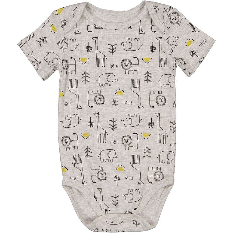 Young Original Baby Short Sleeve Printed Bodysuit, Grey Light, hi-res