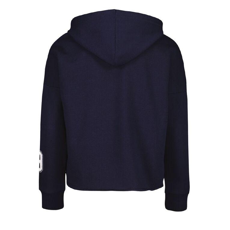 Young Original Girls' Crop Print Sweatshirt, Blue Dark, hi-res
