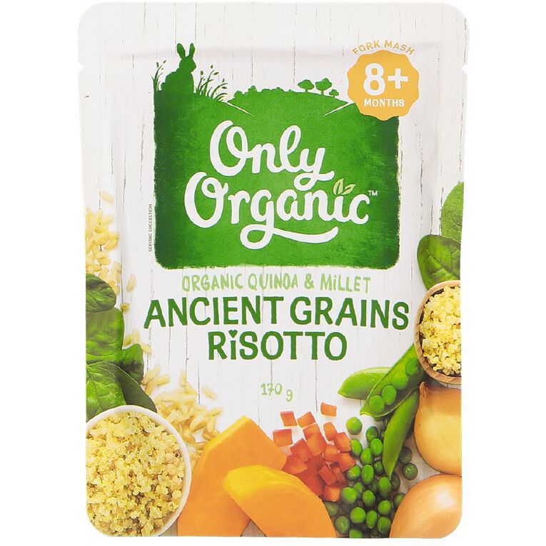 Only Organic Baby Food Ancient Grains Risotto 170g Pouch, , hi-res