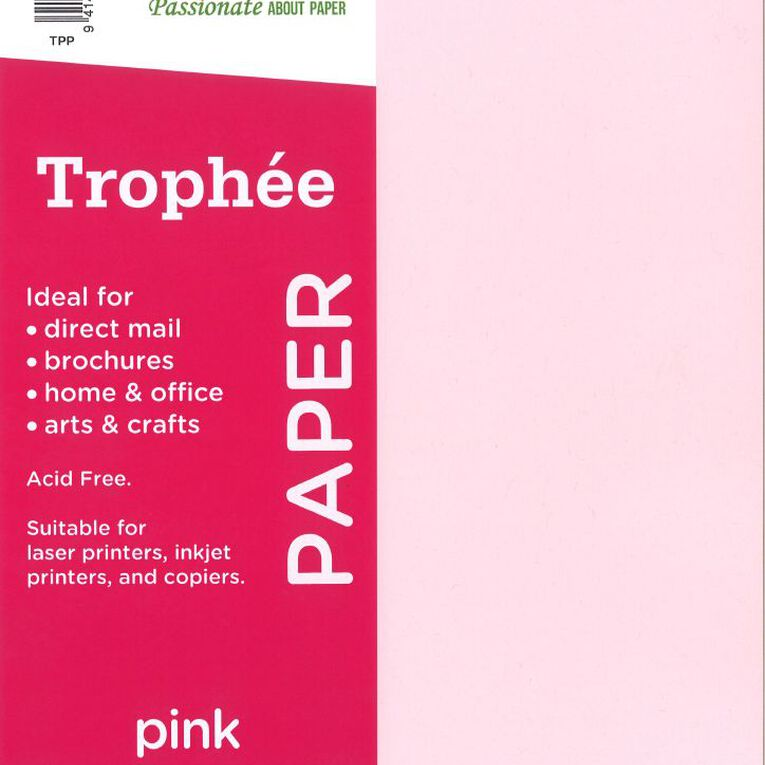 Trophee Paper 80gsm 30 Pack Pink A4, , hi-res
