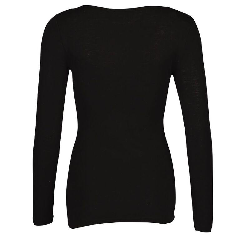 H&H Women's Merino Blend Boat Neck Top, Black, hi-res