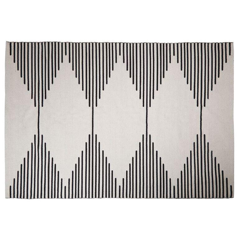 Living & Co Diamond Border Cotton Oversize Area Rug White 200cm x 300cm, , hi-res