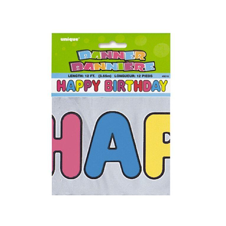 Unique Happy Birthday Banner Metallic Assorted, , hi-res