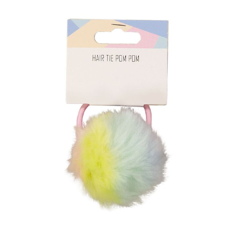 Pastel Hair Tie Pom Pom, , hi-res
