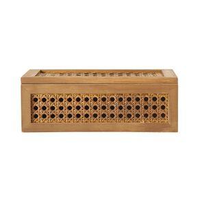 Living & Co Lattice Rattan Trinket Box Natural 24cm x 16cm x 8.5cm