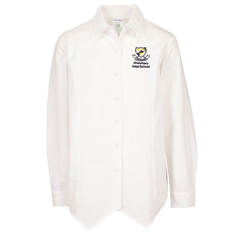 Schooltex Onewhero Area School Long Sleeve Blouse with Embroidery, White, hi-res