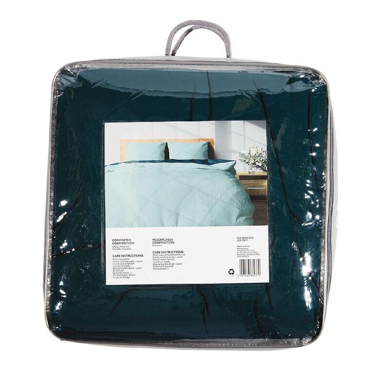 Living & Co Comforter Set 3 Piece Plain Botanical Green Single, Green, hi-res