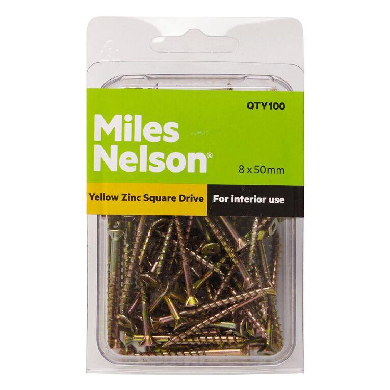 Miles Nelson Yellow Zinc Square Drive Screws 8mm x 50mm, , hi-res