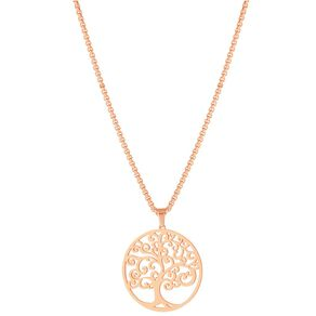 Stainless Steel Rose Gold Plated Tree of Life Necklace