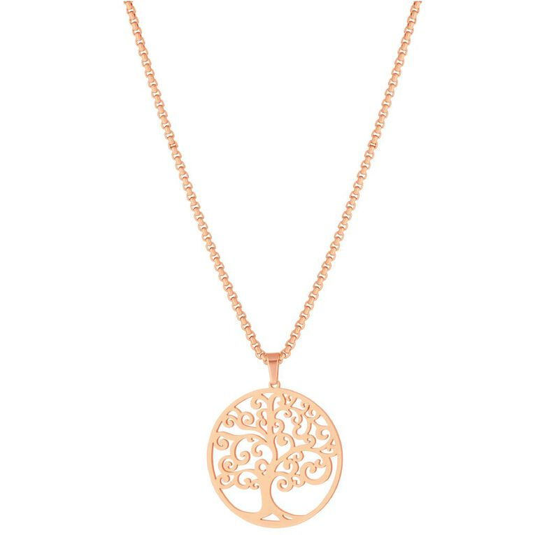 Stainless Steel Rose Gold Plated Tree of Life Necklace, , hi-res