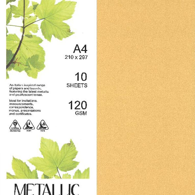 Direct Paper Metallic Paper 120gsm 10 Pack Gold A4, , hi-res