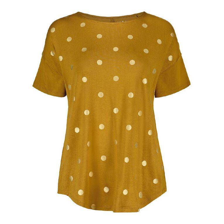 H&H Women's Drop Shoulder Tee, Brown Mid, hi-res