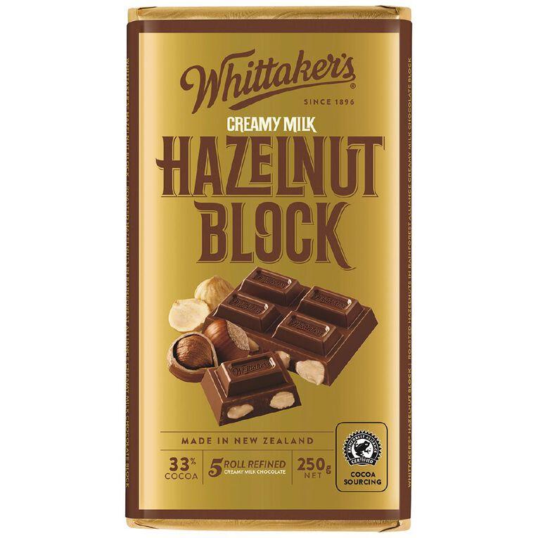 Whittaker's Hazelnut Block 250g, , hi-res