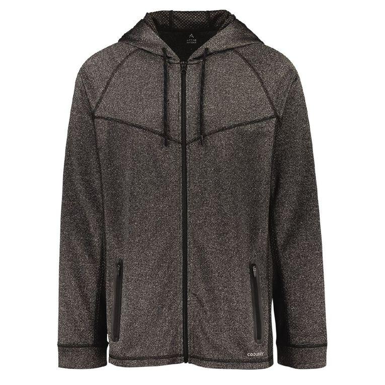 Active Intent Men's Cooldry Zip-Thru Sweatshirt, Charcoal, hi-res