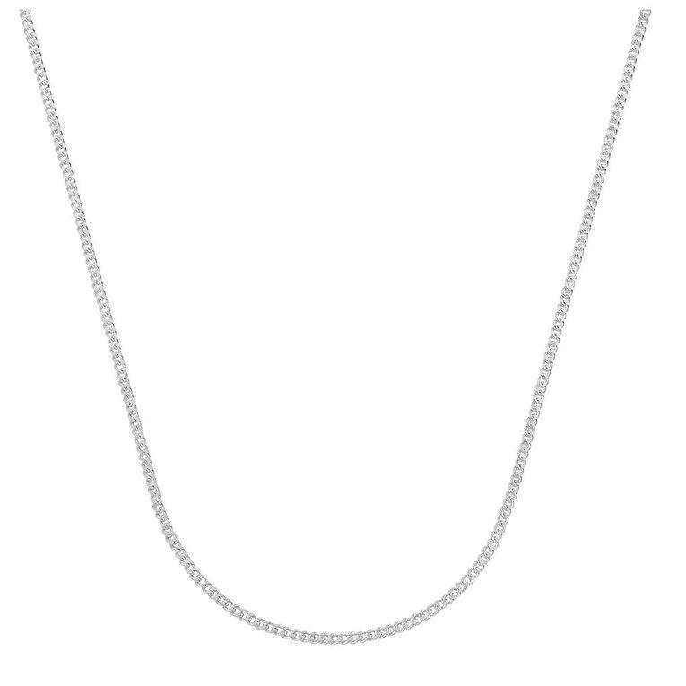 Sterling Silver Diamond Cut 60 Gauge Curb Chain 55cm, , hi-res