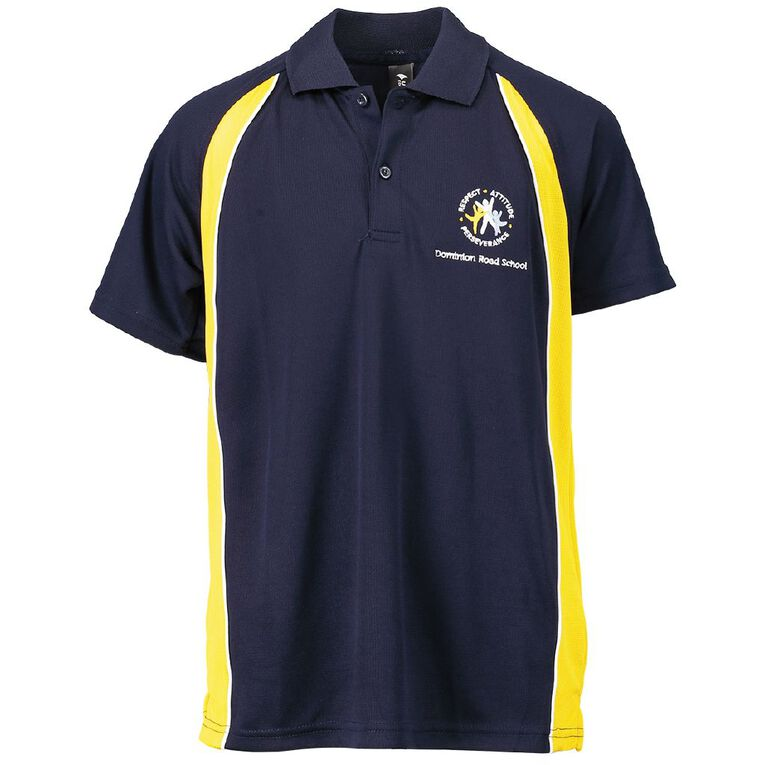 Schooltex Dominion Road Short Sleeve Polo with Embroidery, Navy/Gold, hi-res