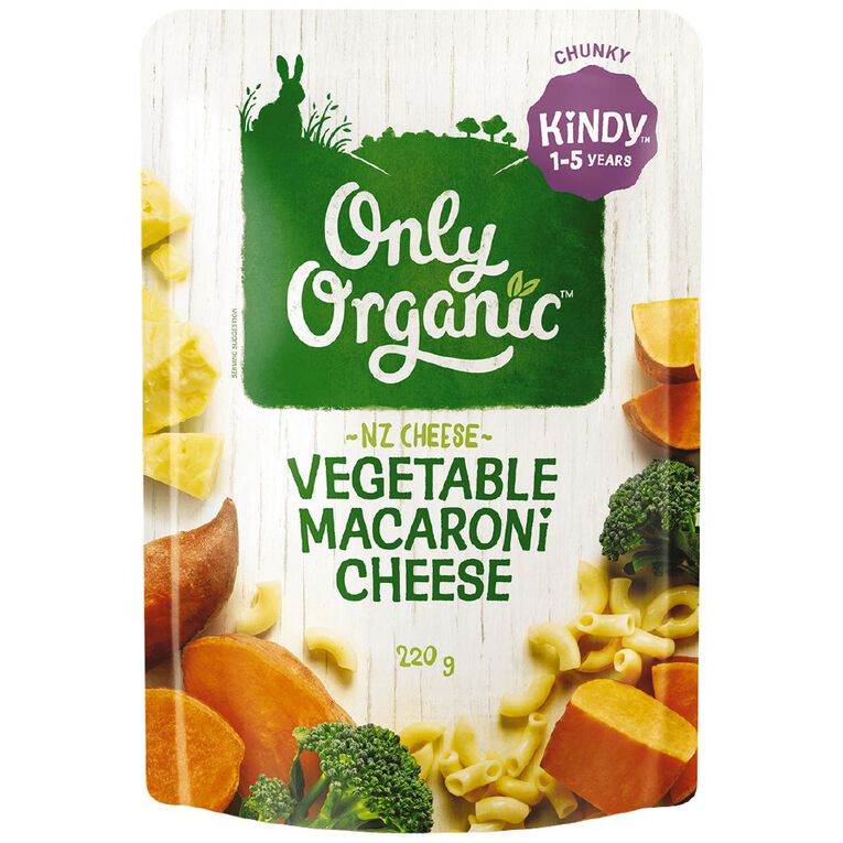 Only Organic Kindy Macaroni & Cheese Pasta Pouch 220g, , hi-res
